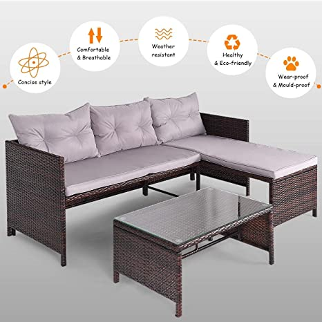 Amazon.com : Khaokee 3 PCS Rattan Wicker Deck Couch Outdoor ...