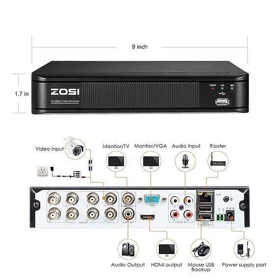 Amazon.com: ZOSI Cámara de Seguridad Interior / Exterior ...