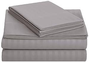 AmazonBasics Deluxe Microfiber Striped Sheet Set, Dark Grey, Queen