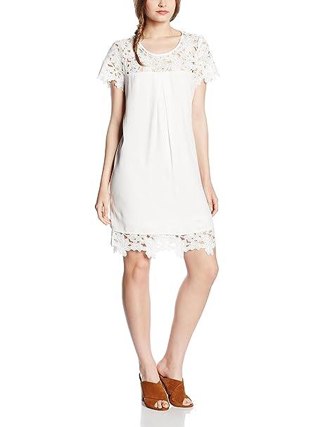 Cortefiel GUIPUR Yoke Dress Flowers, Vestido para Mujer, Beige, L