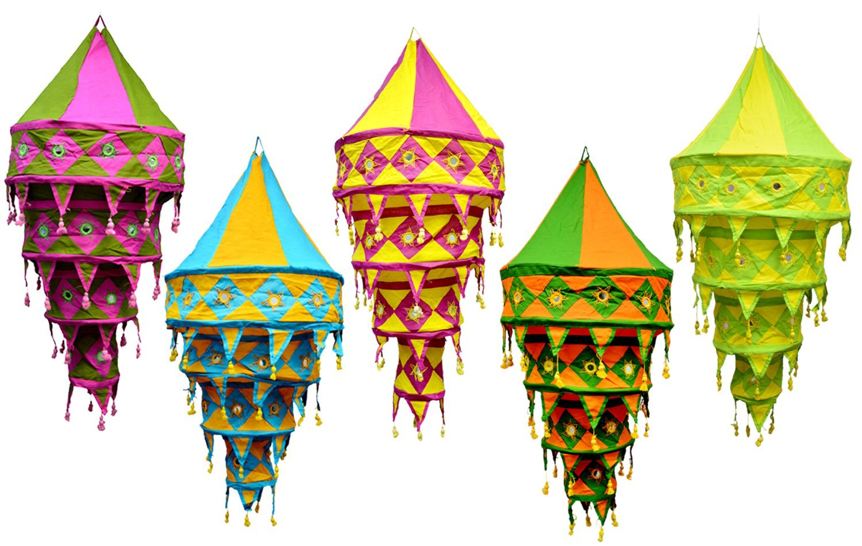 5pcs-25pcs Indian Multi Color Hanging Lamps shades Patchwork Home Decor 4 Layer Lamp