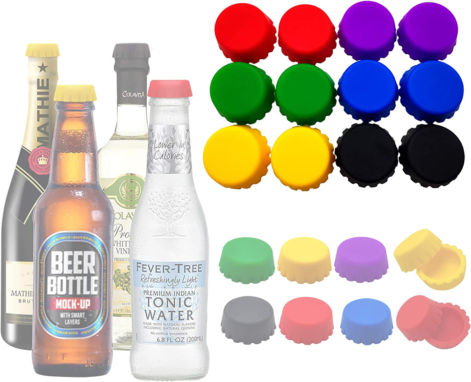 Beer Bottle Caps, Silicone Bottle Caps Reusable Bottle Stopper, Cola Soda Bobble caps to Keep Wine, Beer, Cola, Soft Drink, Soda Fresh for Days, Perfect for Party Kitchen