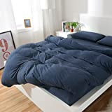 PURE ERA Solid Cotton Ultra-soft Jersey Knit Home Bedding 3-piece Duvet Cover Set,1 Comforter Cover and 2 Pillow Shams Midnightblue