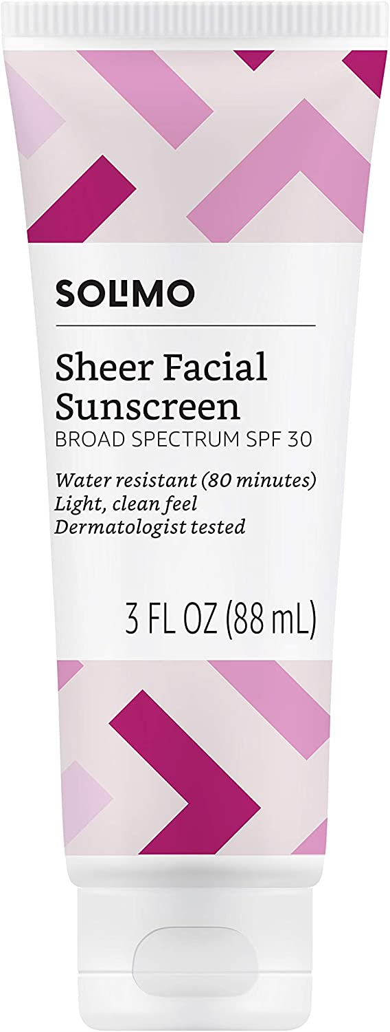 Amazon Brand - Solimo Sheer Face Sunscreen SPF 30, 3 fl oz (Pack of 1)