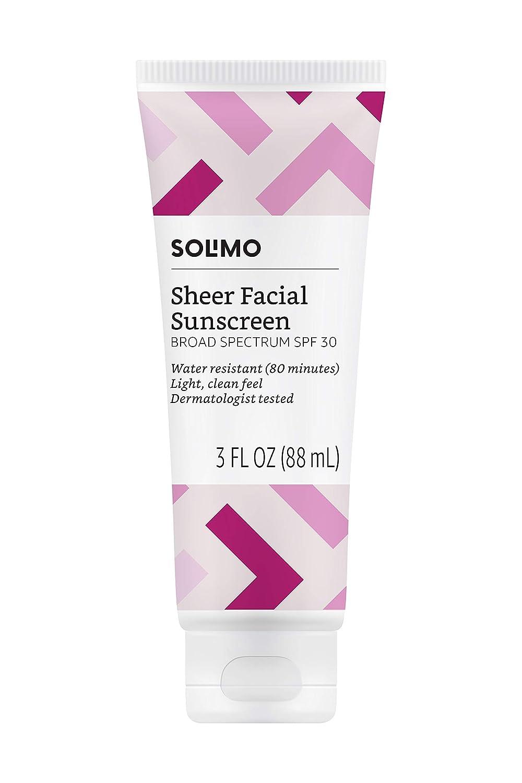 Amazon Brand - Solimo Sheer Facial Sunscreen SPF 30, 3.0 Fluid Ounce