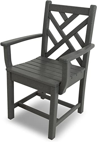 POLYWOOD CDD200GY Chippendale Dining Arm Chair