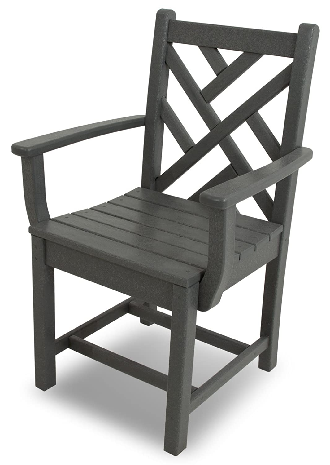 POLYWOOD CDD200GY Chippendale Dining Arm Chair, Slate Grey