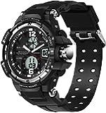 SANDA 黒 PU バンド 夜光 防水 LED アナログ デジタル 多機能 スポーツ 石英 ウォッチ クォーツ デジタル デュアルディスプレイ ミリタリー 腕時計 (シルバー)