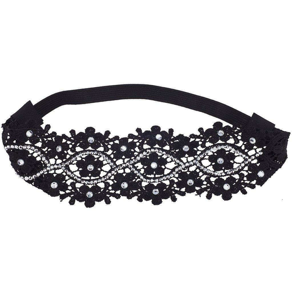 LUX Zubehör Schwarz Kristall Strass Blumen Spitze Headwrap Stirnband H49443-1-H800