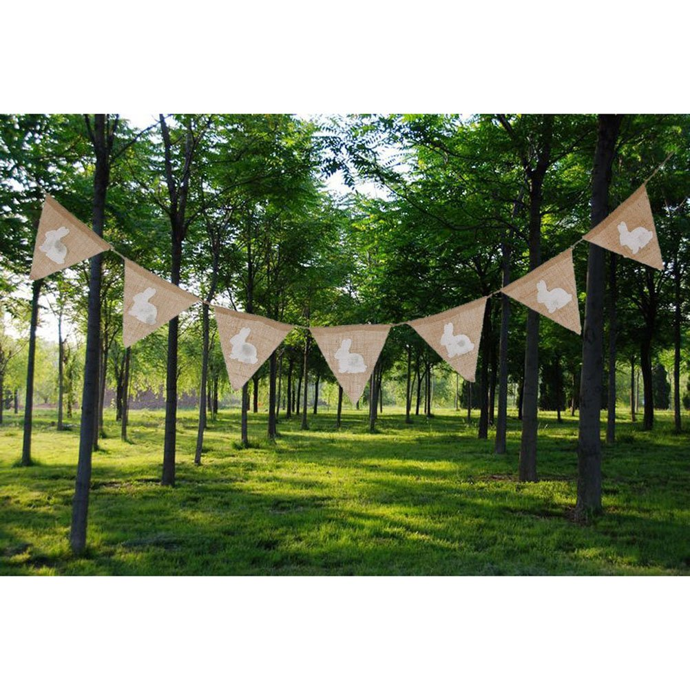 Decor Linen Pennant Bunting Banner Rabbit Easter String Flag Anniversary Party