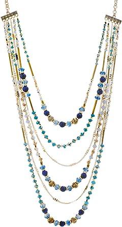 CATHERINE MALANDRINO 18-21 Inch Multi-Colored Beaded Multi-Strand Chain Yellow Gold-Tone Necklace for Women