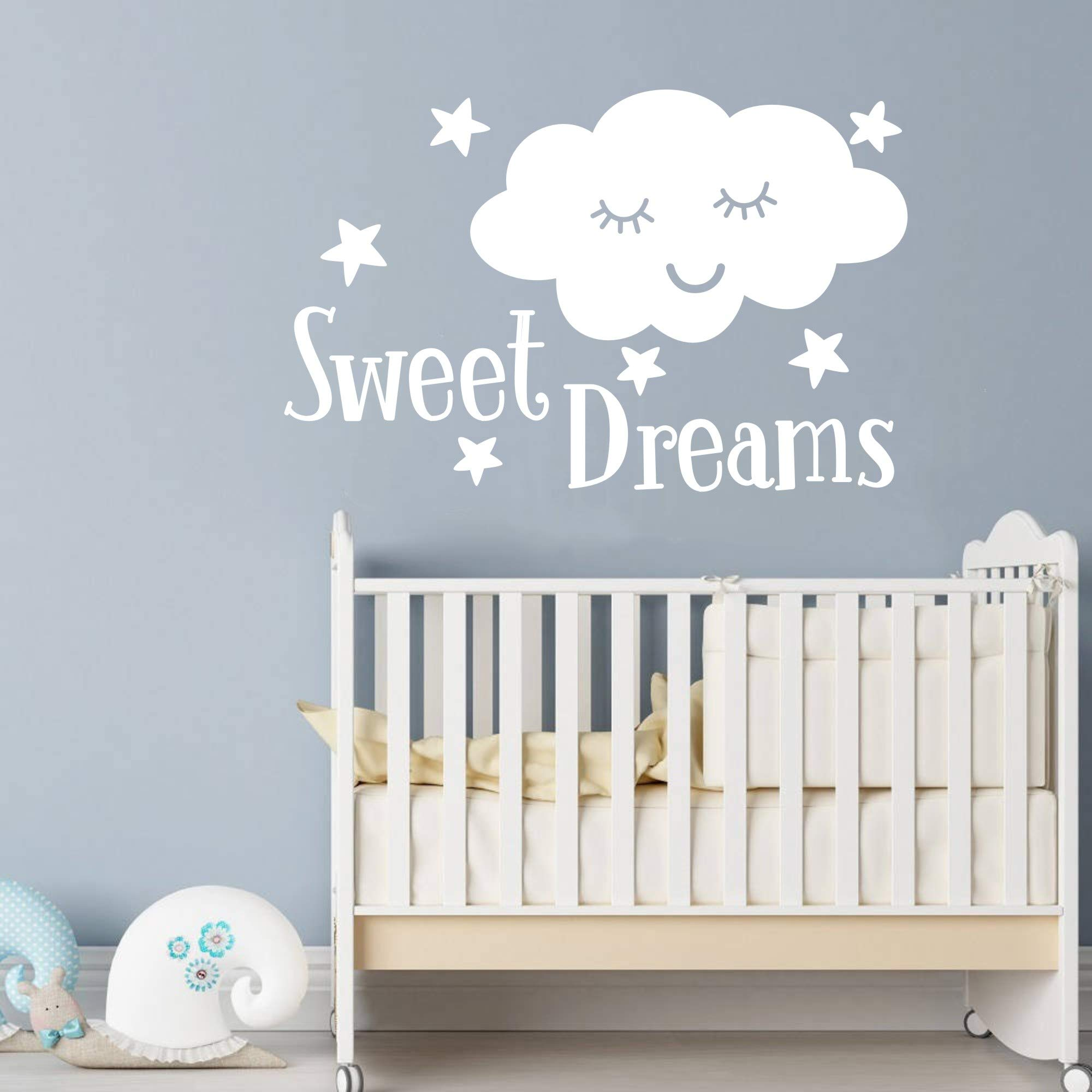 JUXUOXIN Sweet Dreams Smile Cloud Stars Wall Decal Art Vinyl Sticker Quote Lettering Decoration Removable Baby Girl Boy Kids Nursery Room Decor YMX32 (White, 88X57CM)