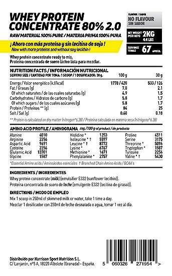 Proteína Concentrada de Suero de Leche de HSN Raw | Whey Protein Concentrate 80% | Proteína Neutra | Apto para la Dieta Vegetariana | Sin Gluten, Sin ...