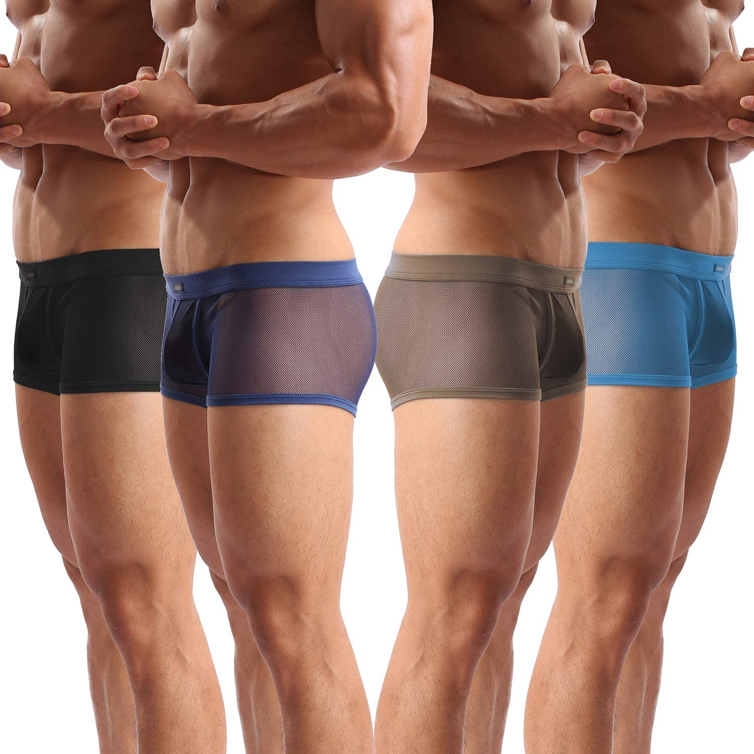 Men's Underwear Sexy Mesh Breathable Boxer Briefs Low Rise Cool Boxers Pack  Set at Amazon Men's Clothing store