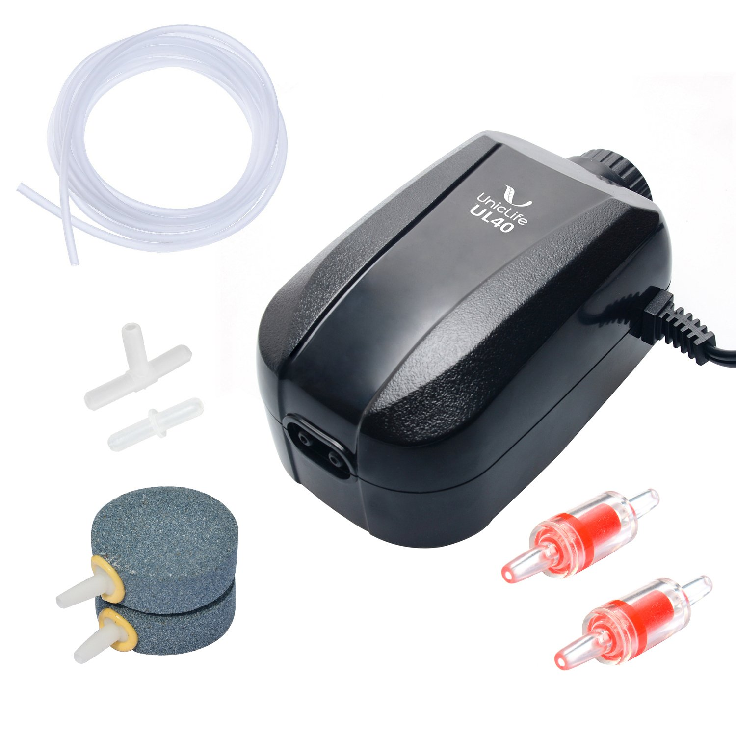 Uniclife Aquarium Air Pump Dual Outlet with Accessories for Up to 100 Gallon Tank