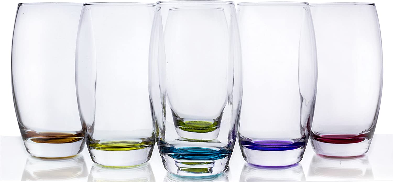 Prism Multi Colored Water Beverage Glasses, 16 Ounce - Set of 6