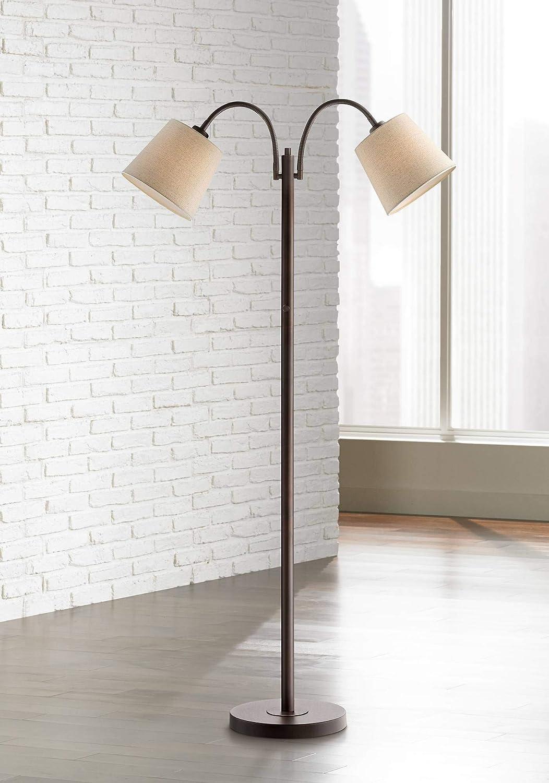 Seneca Modern Floor Lamp Dark Bronze Twin Arm Adjustable Gooseneck Neutral Cotton Drum Shade for Living Room Reading Bedroom – 360 Lighting