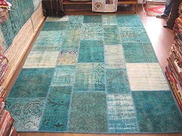 Teppich türkis  Amazon.de: Teppich Patchwork Vintage türkis blau / 200 x 300 cm