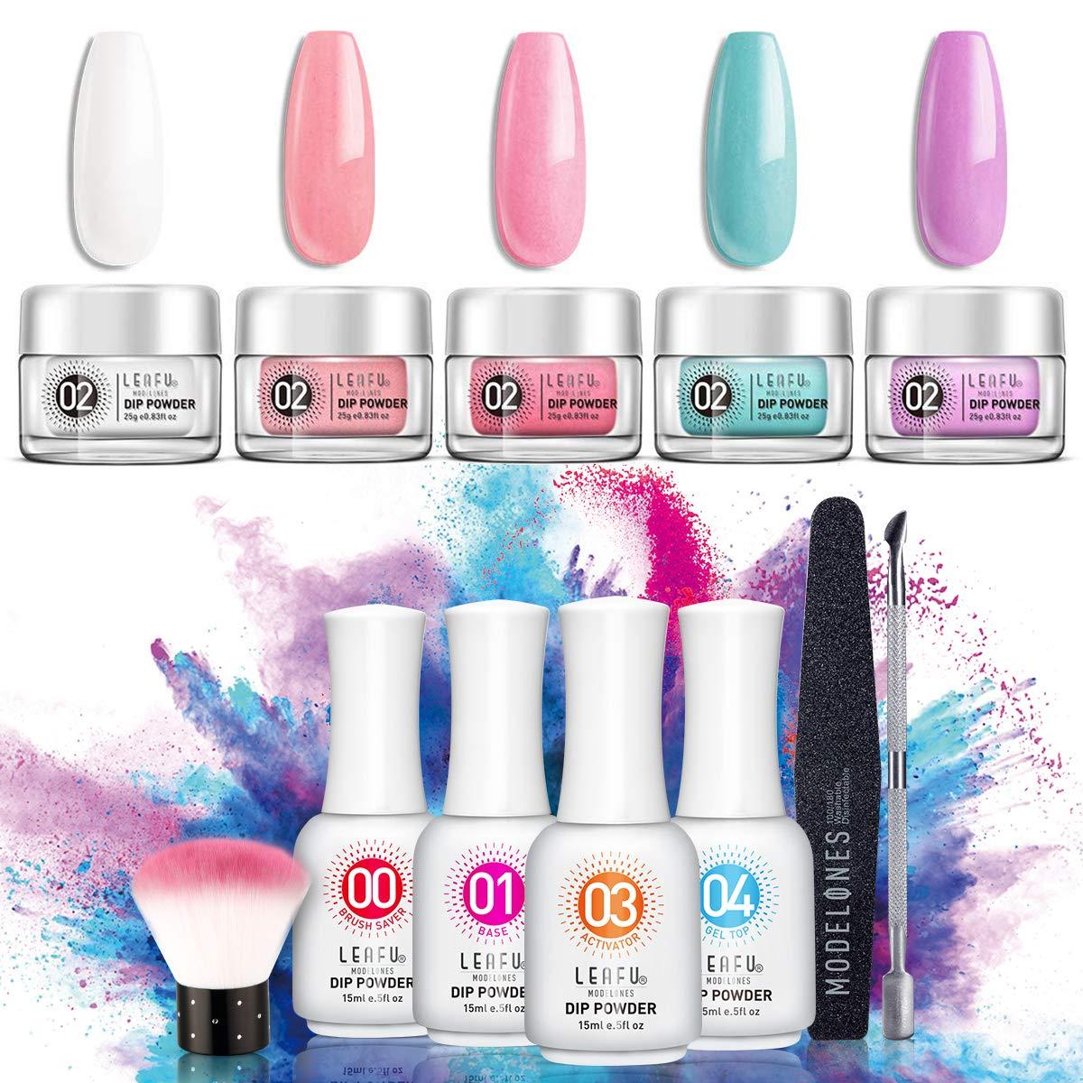 Dipping Powder Nail Starter Kit 5 Colors Dip Powder Easy Dip powder kit Nail Dipping Powder French Nail Manicure Nail art set No UV/LED by modelones