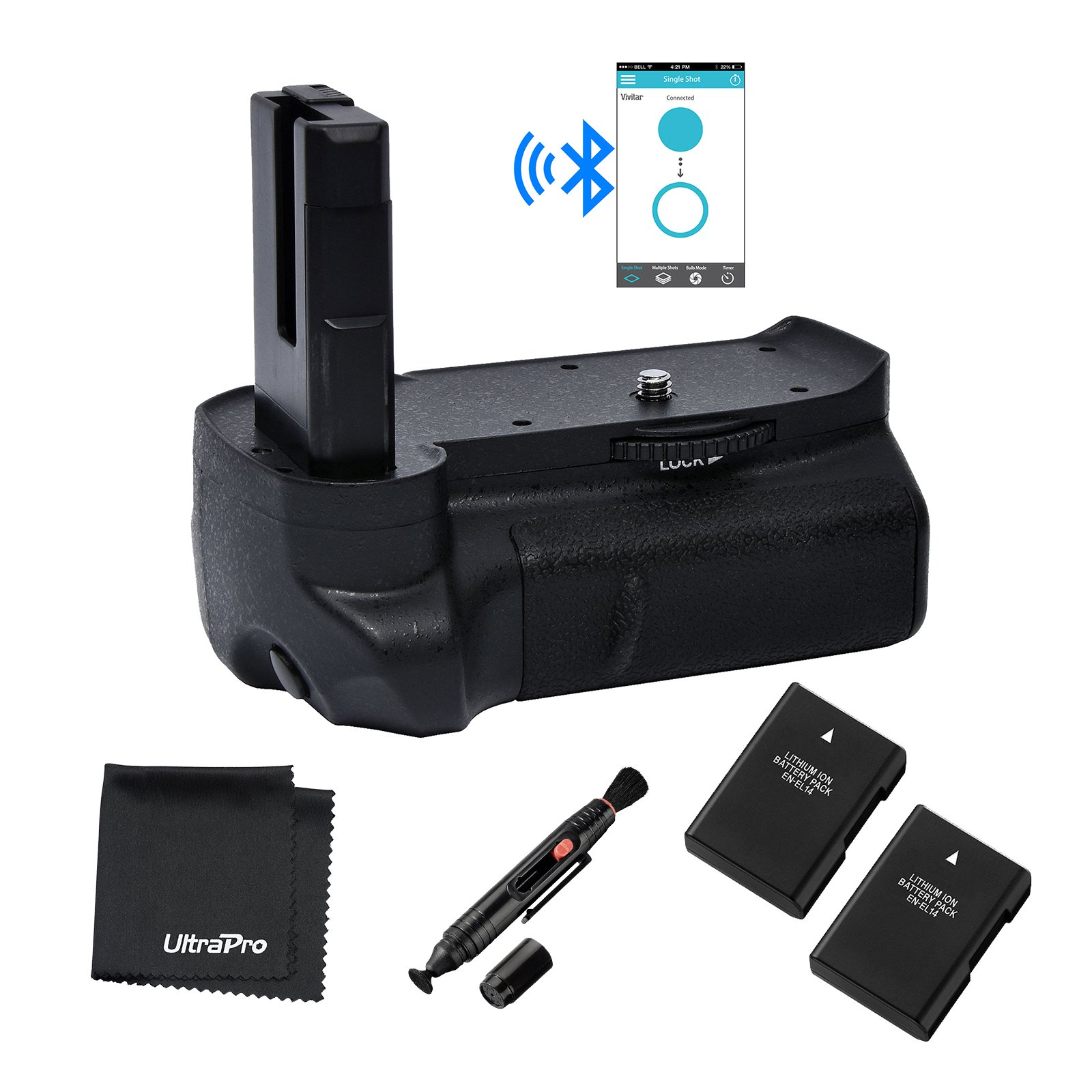 Bluetooth Battery Grip Bundle F/ Nikon D3100, D3200, D3300: Includes Vertical Battery Grip, 2-Pk EN-EL14 Extended Replacement Batteries, Microfiber Cleaning Cloth, Lens Cleaning Pen by UltraPro