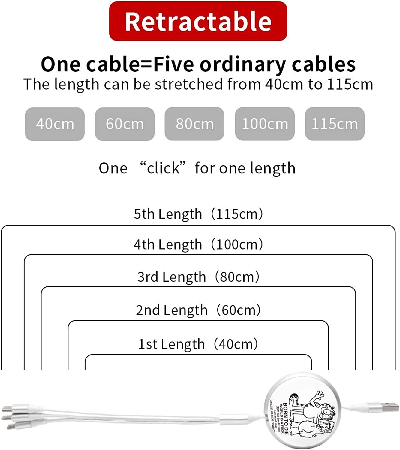 Multi Charging Cable Portable 3 in 1 Born to GARF USB Cable USB Power Cords for Cell Phone Tablets and More Devices Charging
