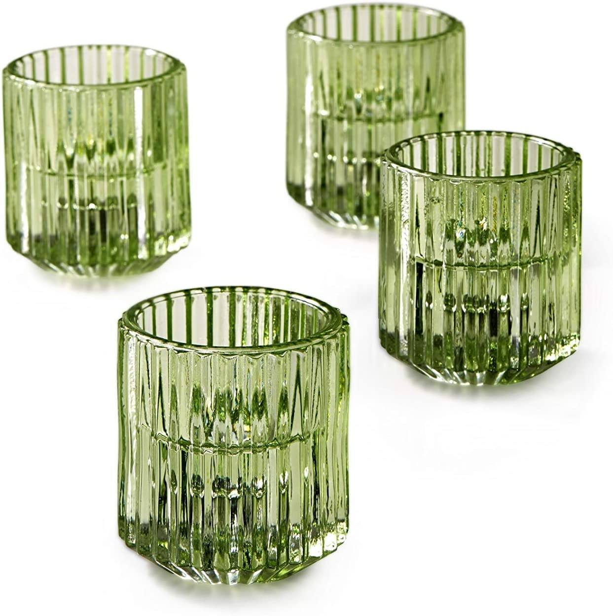 Serene Spaces Living Set of 4 Green Ribbed Glass Votive Holders, Perfect for Weddings and Home Décor, Measures 2.25