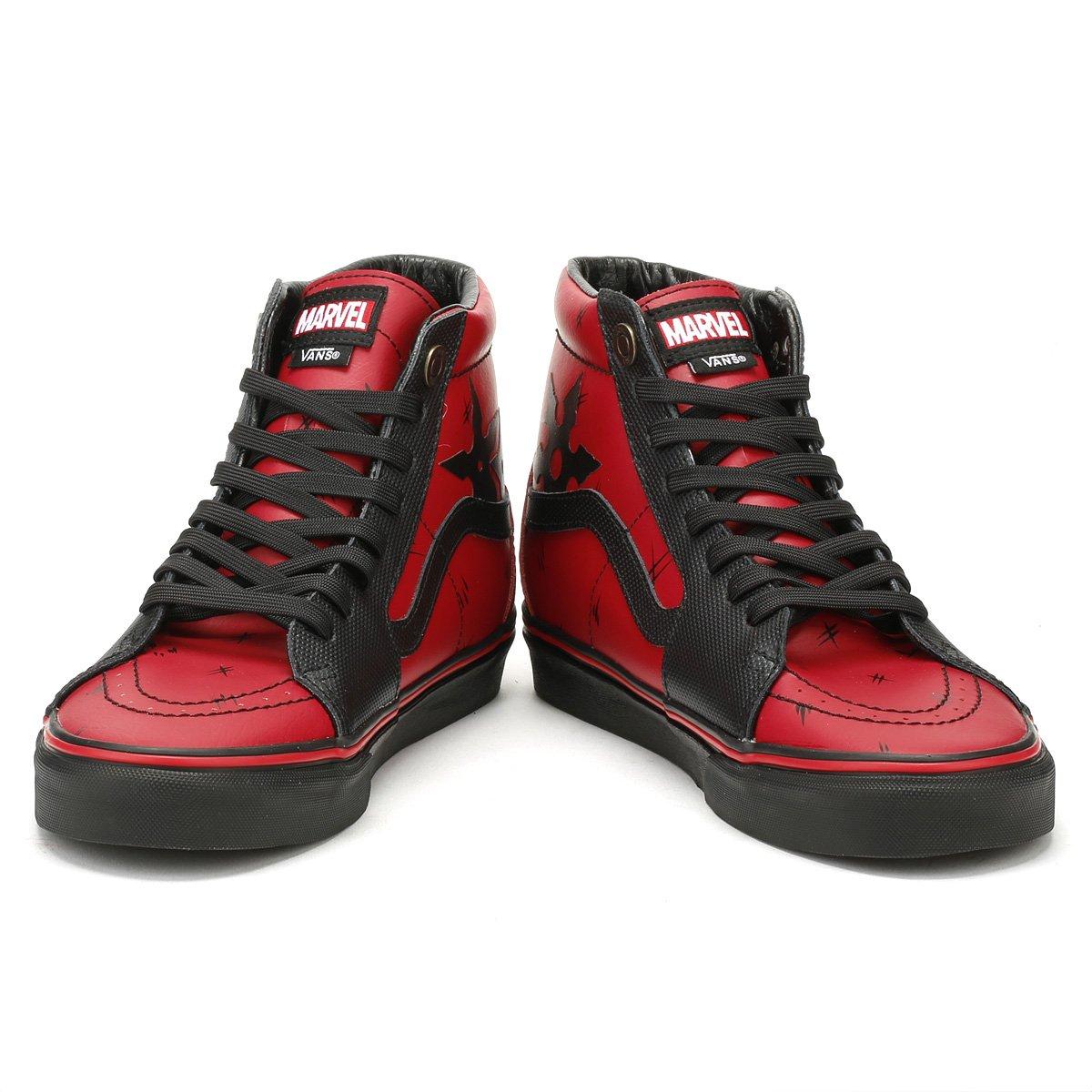 e2d3461877 Amazon.com  Vans SK8-Hi Marvel Deadpool Red Black Leather Skateboarding  Shoes  Shoes