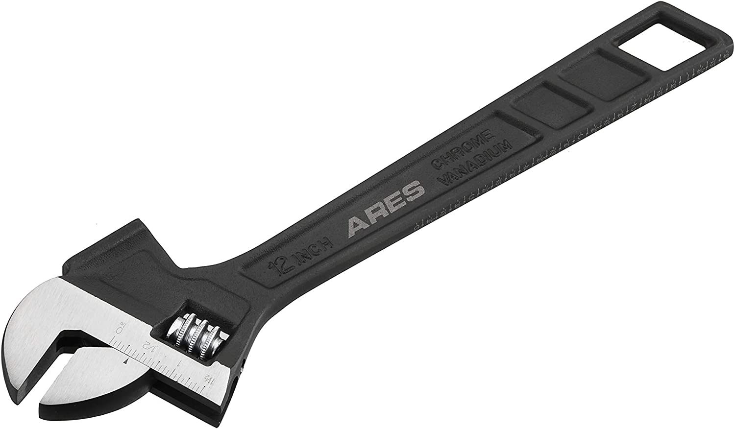 ARES 79006 - 12-Inch Hammer Head Adjustable Wrench - 1 1/2-Inch Jaw Capacity - Chrome Vanadium Steel Construction - Flat Top Hammer Face