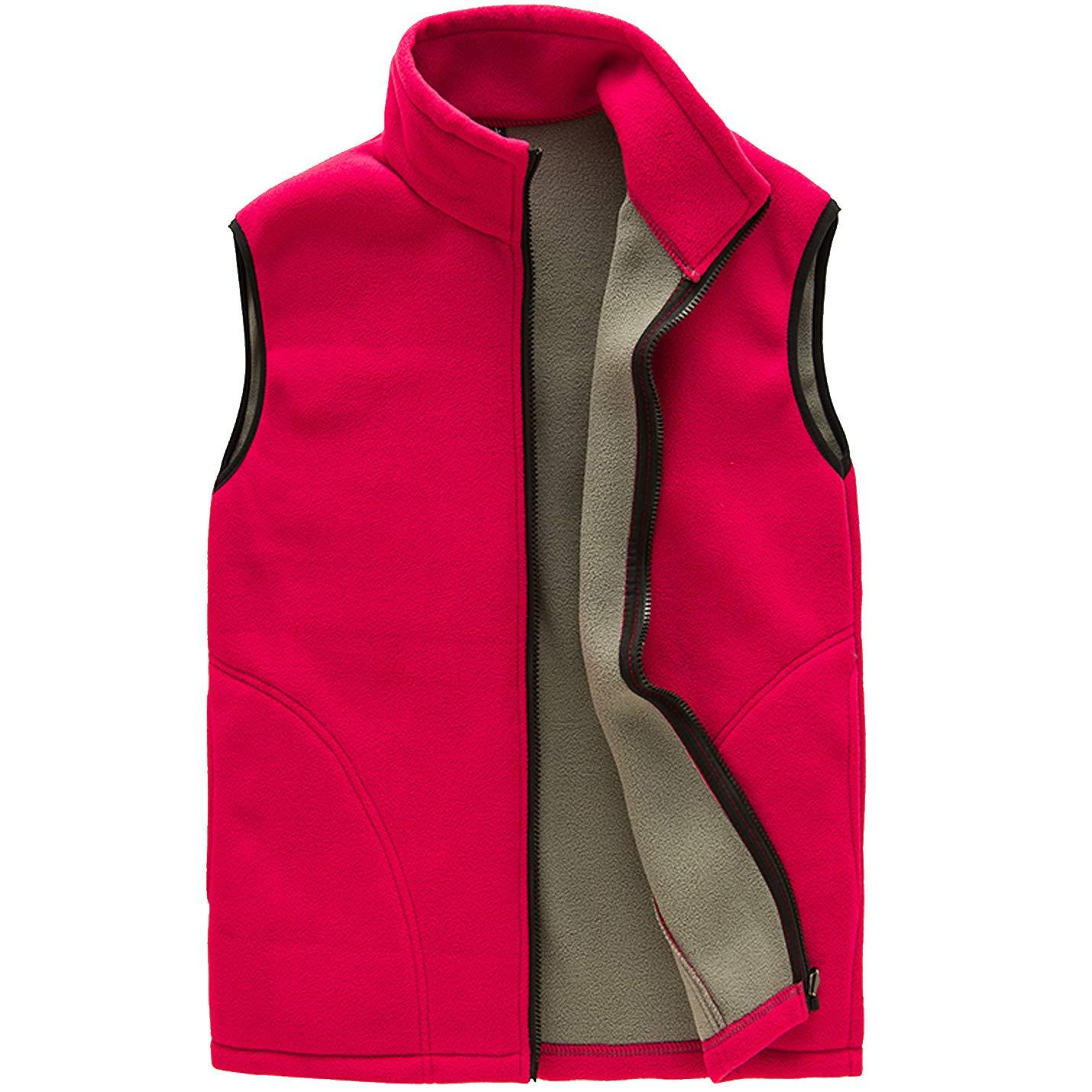 Flygo Men's Full Zip Up Soft Lightweight Utility Outdoor Mountain Fleece Vest