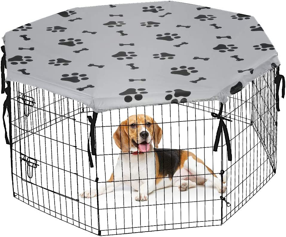 Dog Playpen Cover for Indoor & Outdoor - Water Proof & UV Resistant Pet Crate Cover, Escape Proof Privacy Kennel Cover Fits 24 Inches Pen with 8 Panels: Kitchen & Dining