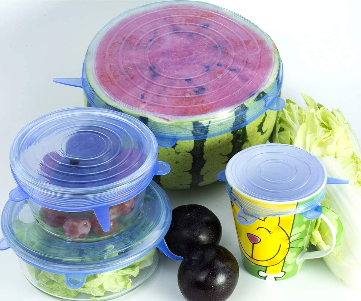 Coperchi elastici in silicone Coperchio flessibile riutilizzabile per alimenti da 6 confezioni Coperchi per contenitori di varie dimensioni estensibili durevoli Coperchi per vaso contenitore Blu