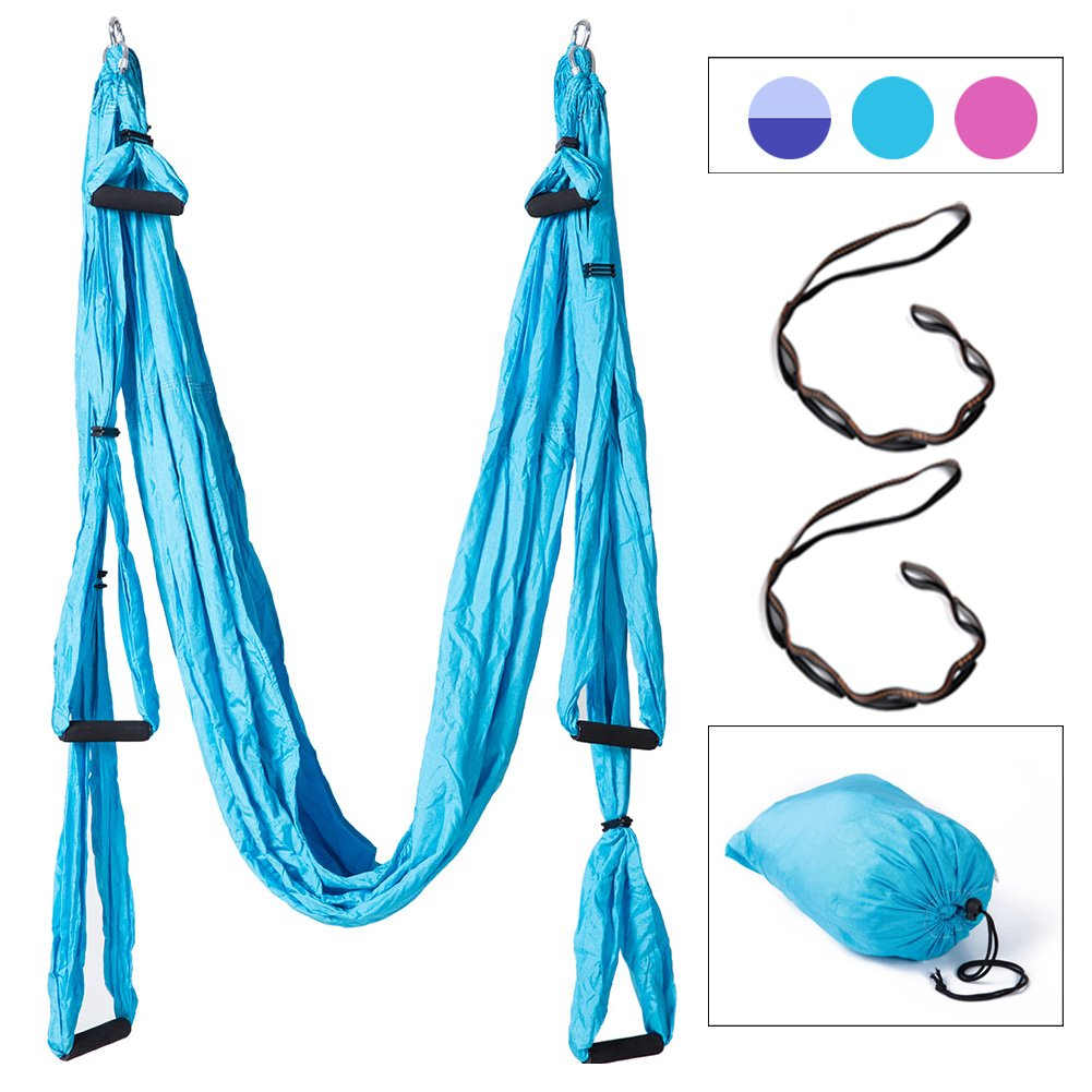 Lflyeagle Aerial Flying Yoga Hammock Set - Yoga Swing/Fitness Inversion Pilates/Sling, Included 2 Extensions Straps and All Installation Hardward (Lack Blue)