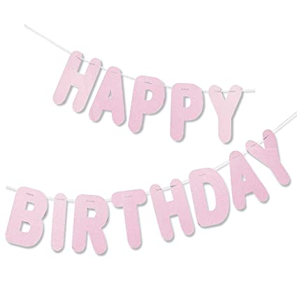 light pink happy birthday letter banner hanging party decoration backdrop large pre strung
