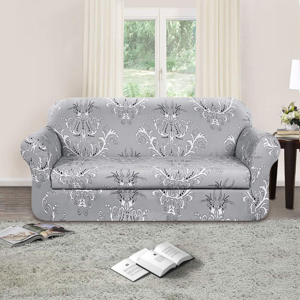 Sofa Covers Amazon: TIKAMI 2-Piece Spandex Printed Fit Stretch Sofa Slipcovers