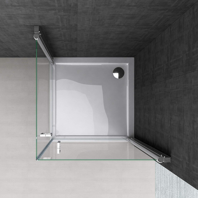 BTH: 70 x 190 cm Diseño de mampara de ducha Ravenna22 con doble puerta, vidrio templado-vidrio de seguridad de vidrio transparente, puerta de mango de acero inoxidable, incluido a dos caras Nano