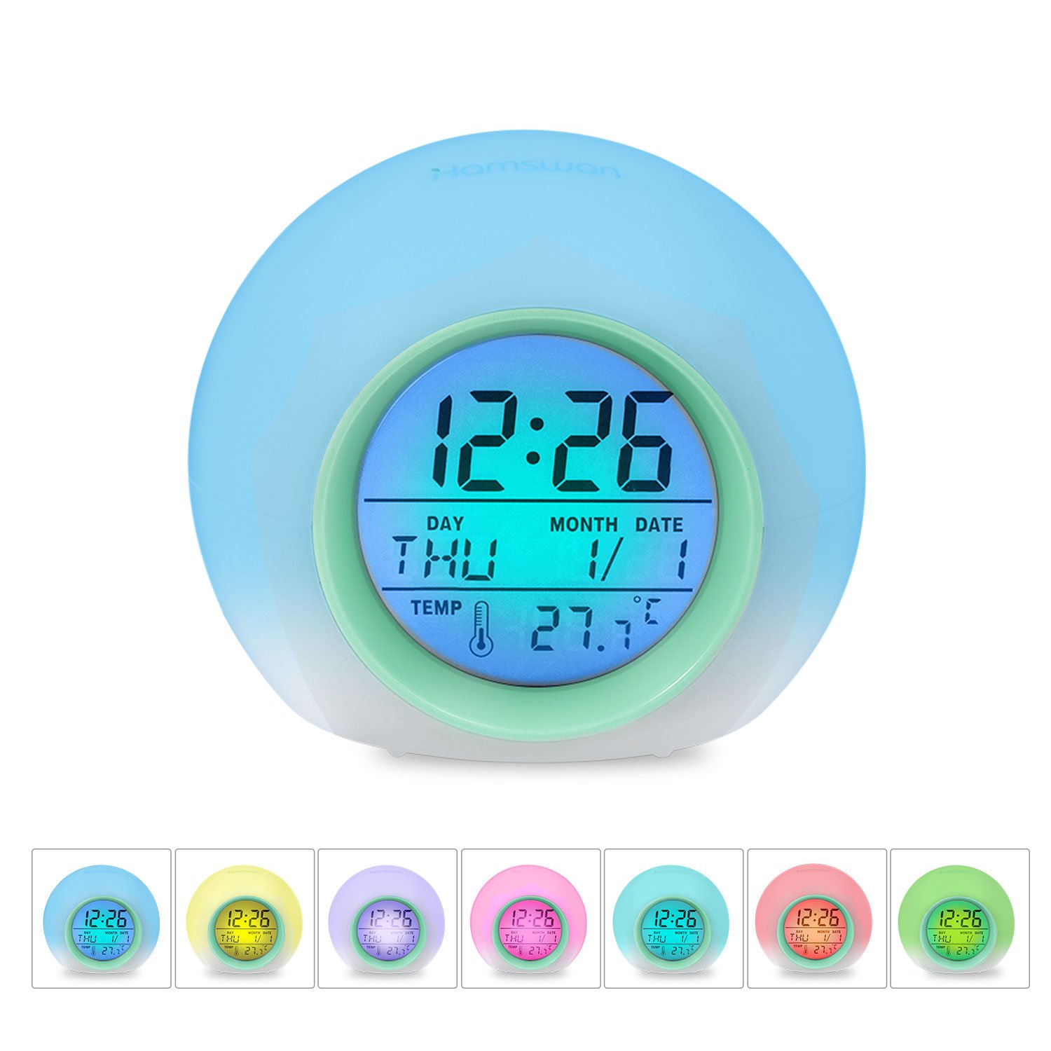 HAMSWAN Kids Alarm Clock - Wake Up Light Digital Clock with 7 Colors Changing, Touch Control and Snooze Function for Bedrooms by HAMSWAN