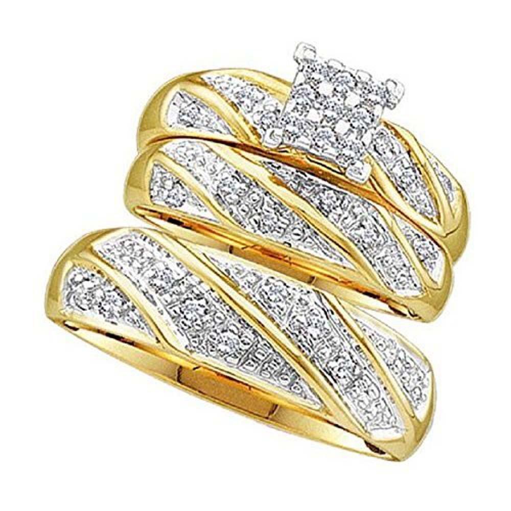 Silvernshine Jewels His & Her 1/3 ct Diamond 14k Yellow Gold Fn Princess Shape Trio Wedding Ring Set