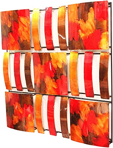 Heather Ann Creations 9 Abstract Geometric Square Panels Modern Metal Hanging Decorative Wall Art
