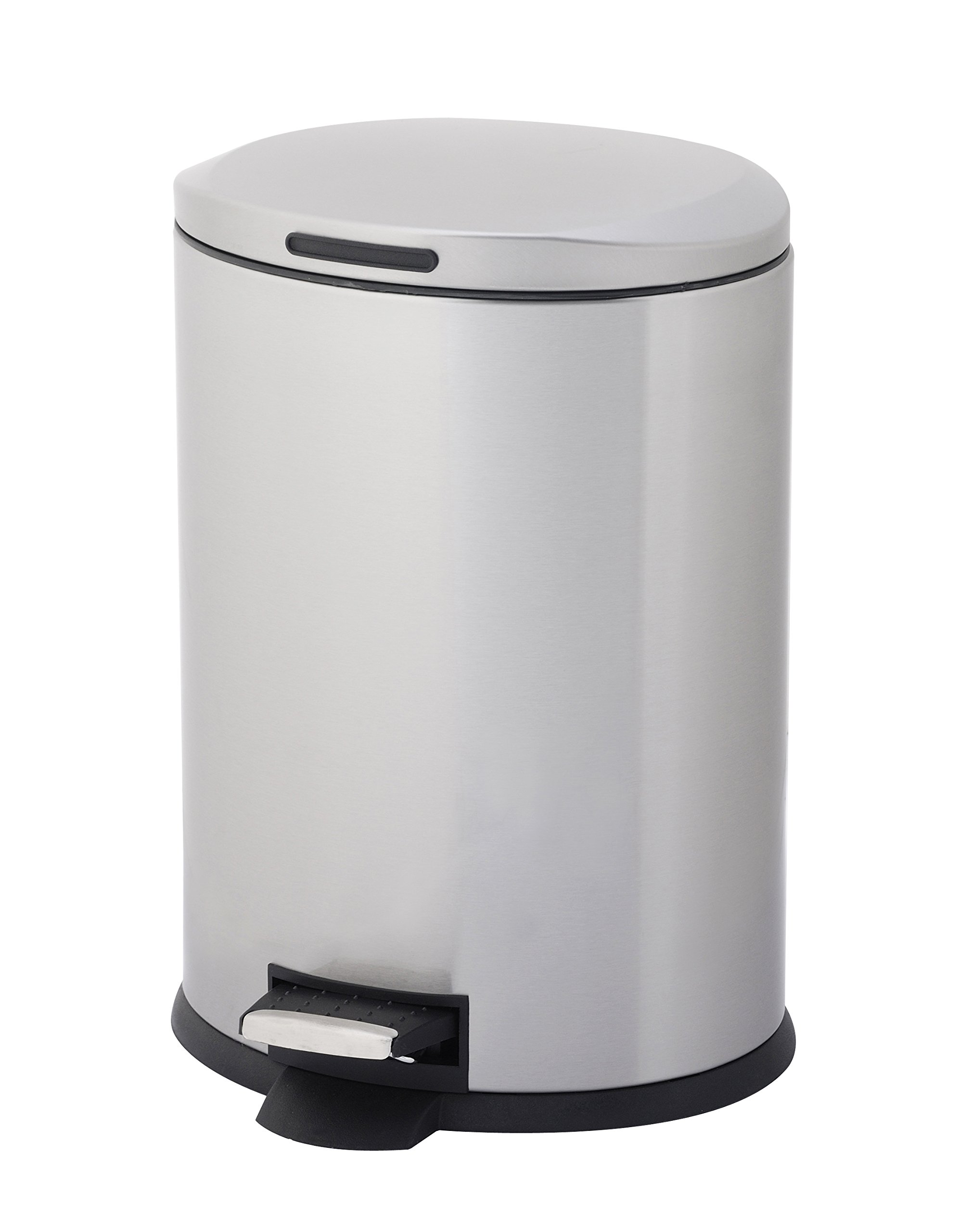 Home Zone Oval Step Trash Can - 3 Gallon / 12 Liter Stainless Steel Trash Bin (VA40913A)