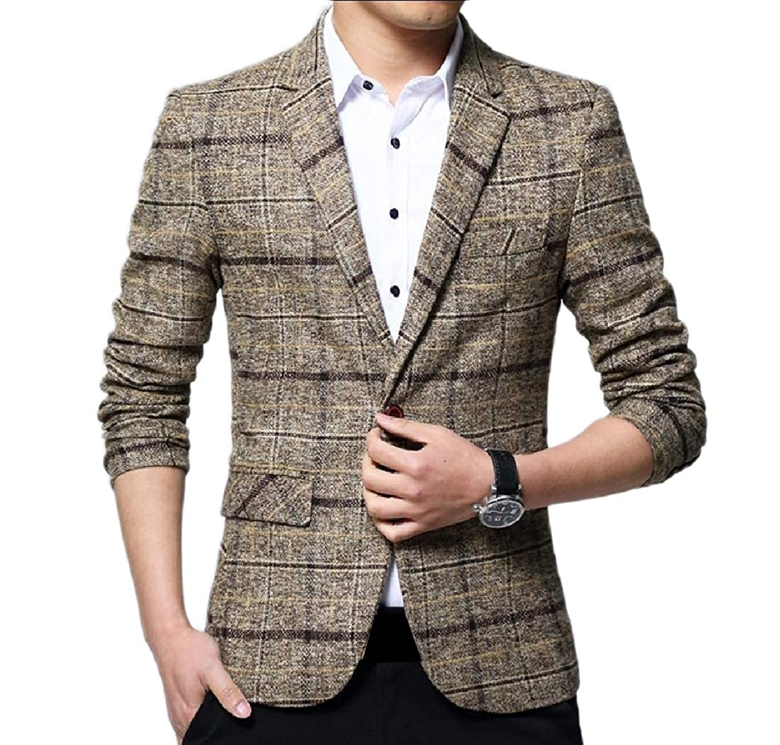Doufine Men's Outwear Tops Grid One Button Casual Comfy Blazer Coat