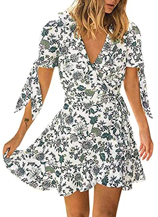 aea1fc80851d Shmily Girl Women's Dresses Summer Wrap V Neck Bohemian Floral Print Ruffle  Swing A Line Beach Mini Dress