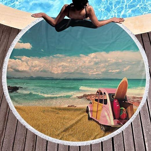 Toalla de playa redonda para niños Vacaciones Coche en Playa de Formentera, España Playa, natación, baño, camping y picnic 59inch: Amazon.es: Hogar