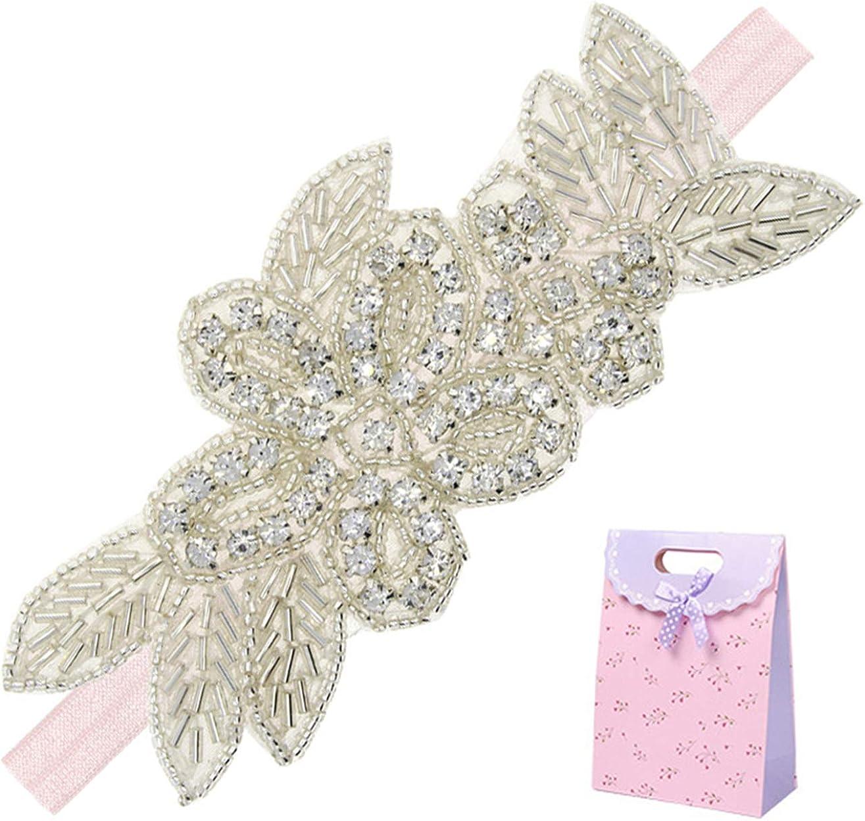 Elesa Miracle Little Baby Girl Rhinestone Flower Headband, Baby Hair Accessories in Gift Bag