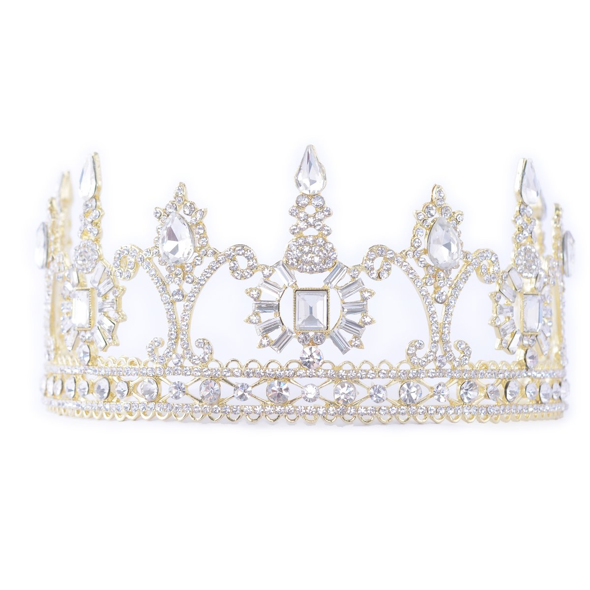 581d7212eee69 FF Women Wedding Crown Rhinestone Tiara for Party Event Gold Finish at  Amazon Women's Clothing store: