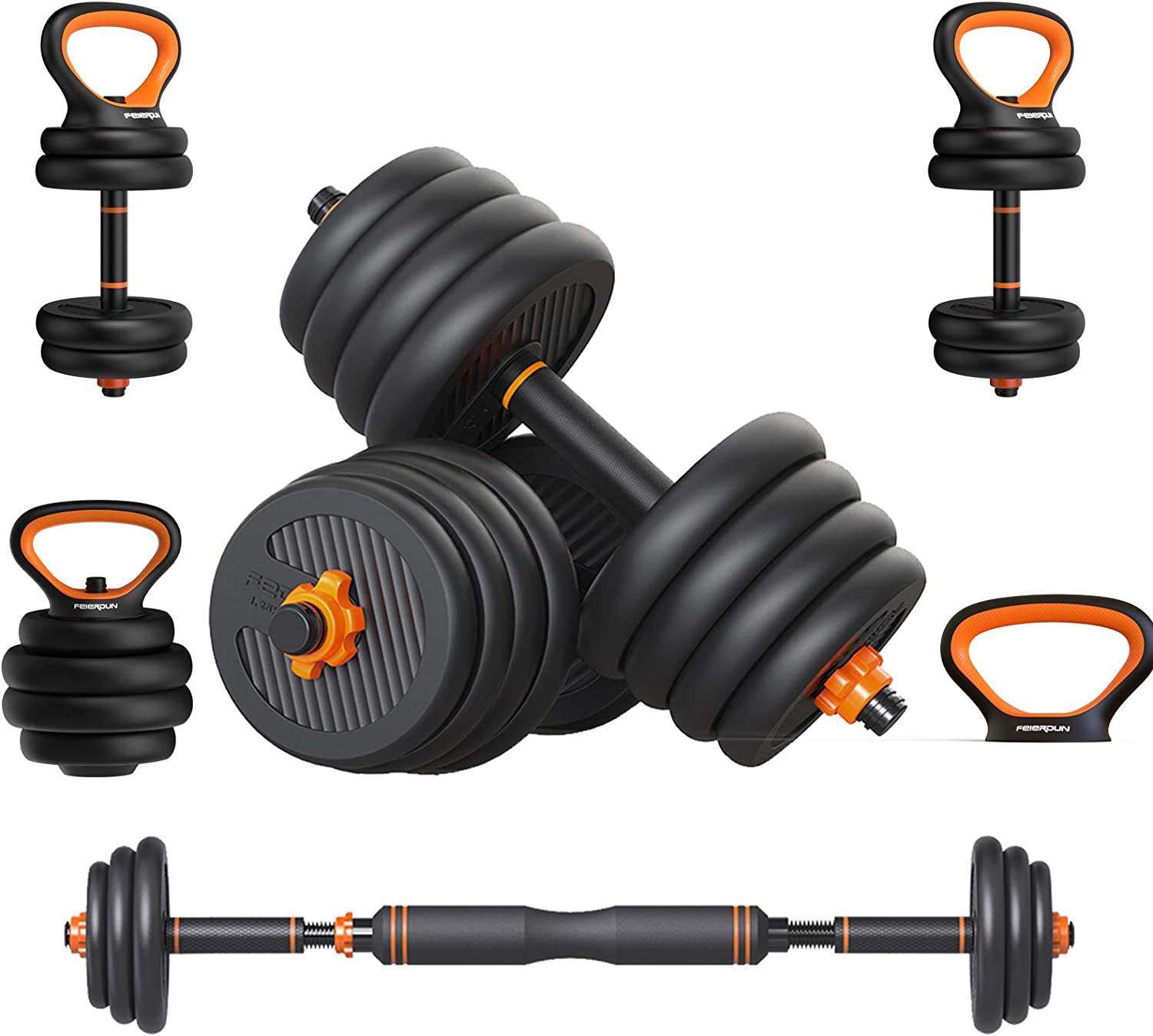 Adjustable Dumbbells Weights Dumbbells Set,66 Lbs Barbell Weight Set with Connecting Rod - for Home Gym, Workout, Whole Body Training, 4 IN 1/Dumbbells Set - Dumbbells,Kettlebells,Push Ups,Barbells