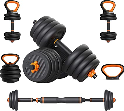 6 in 1 Adjustable Dumbbell Weights Set for Men and Women 66lbs Free Weights Dumbbells Barbell Kettlebells Set for Home Fitness Weight Set Gym Workout Exercise Training with Connecting Rod