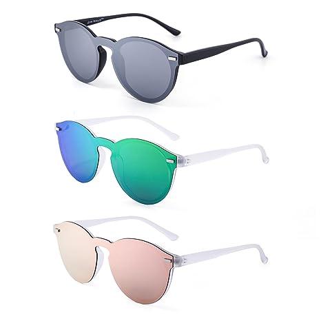 Polarizadas Sin Montura Borde Con Cuerno Gafas de Sol Redondas Espejo Una Pieza Anteojos Para Mujer Hombre 3 Paquete(Plateado&Verde&Rosa)