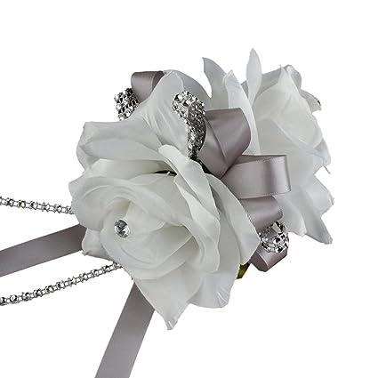 Amazon double white roses wrist corsage for prom party double white roses wrist corsage for prom party wedding mightylinksfo