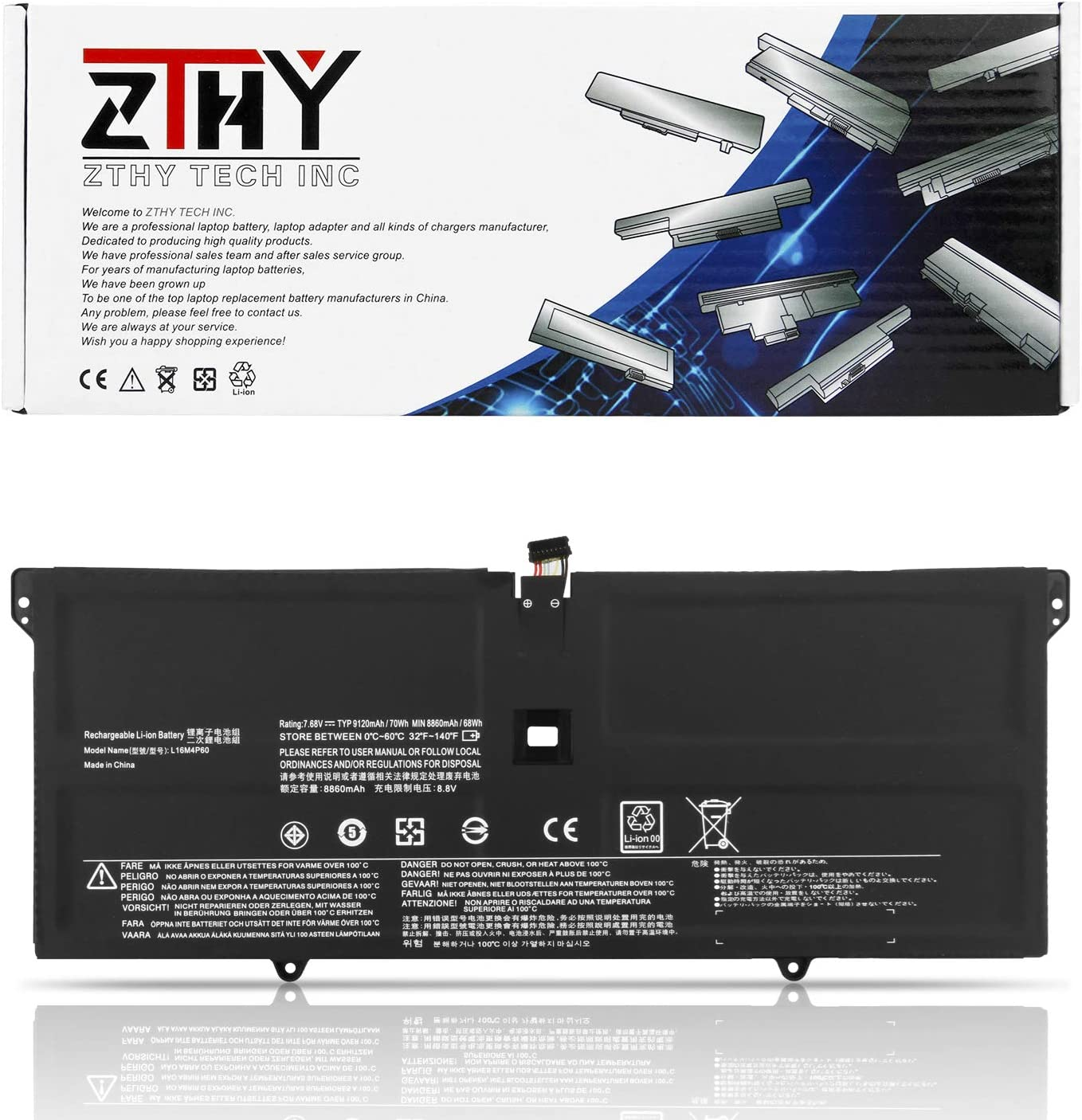 ZTHY L16M4P60 L16C4P61 Laptop Battery for Lenovo Yoga 920 920-13IKB 920-13IKB-80Y7 80Y70023C 80Y70030GE 80Y7008RSP 80Y80029GE 80Y70066US 80Y70040MZ 80Y70035GE 5B10N01565 5B10N17665 70Wh 9120mAh 7.68V