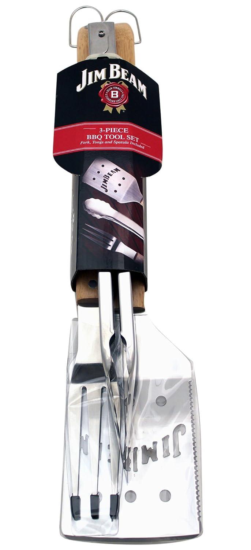 Jim Beam 700530 BBQ Utensil Set Spatula Tongs and Fork